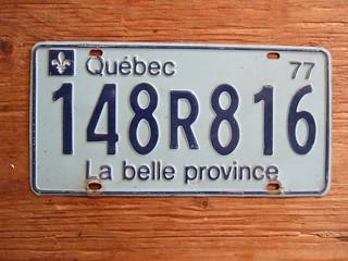 QUEBEC 1977 ---PASSENGER PLATE 148R816
