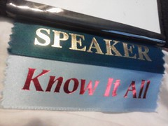 My speaker ribbons from #TACVB. @sheilas picked them out.