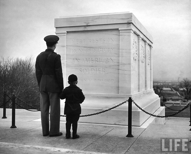 Captain Roger D. Reid visiting the Unknown Soldier's Tomb with his son, by George Strock 1941