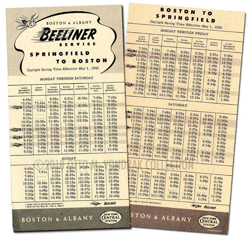 """Beeliner"" Schedule Boston-Springfield, 1950"