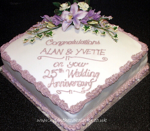 Lilly And Fushia 25th Wedding Anniversary Cake