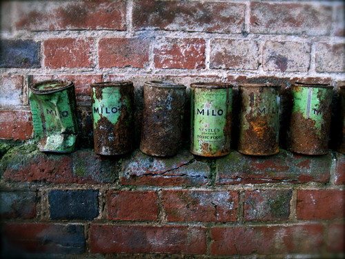 Collection of rusty vintage Milo Tins, September 2010