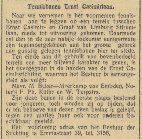 Aanleg Tennisbanen Ernst Casimirlaan