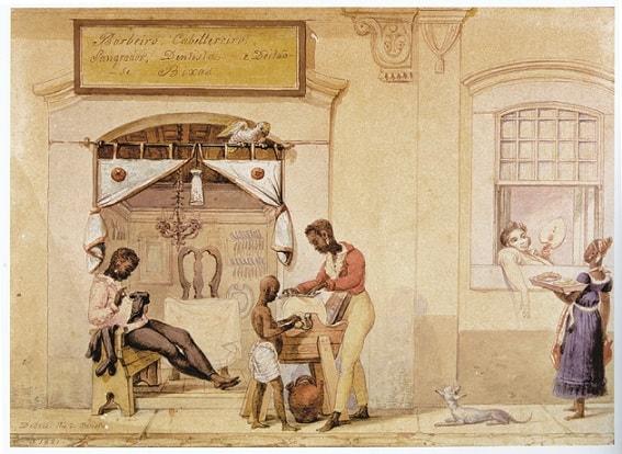 Debret: barbeiros ambulantes
