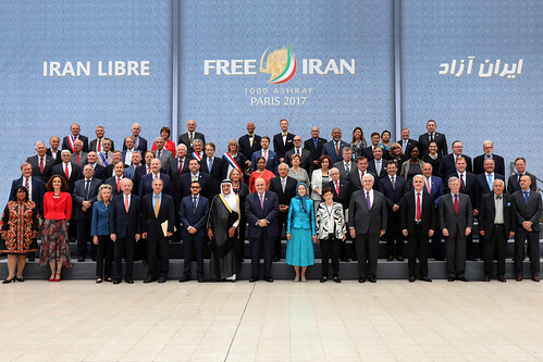 Maryam Rajavi with distinguished personalities and Iranian Resistance supporters Free Iran Gathering, Villepinte, July 1, 2017