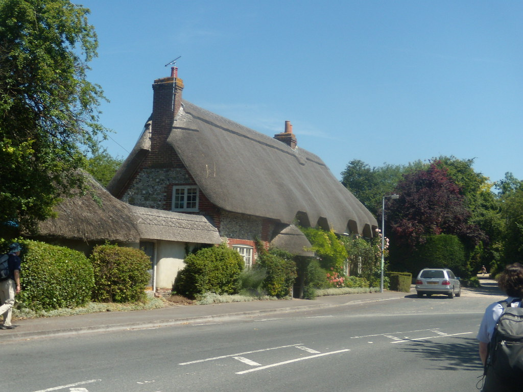 Thatched house - start of Portway Portway visible at right. Salisbury to Stonehenge to Amesbury