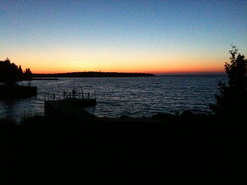 sunset lake water mobile island dock michigan lakehuron 2010 iphone drummondisland