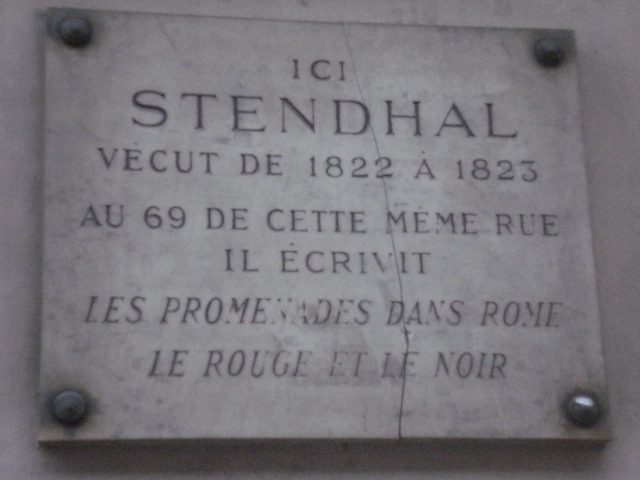 Stendhal plaque, Paris