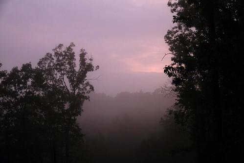 sunset fog landscape
