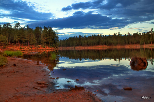trees sunset sky lake southwest water clouds canon landscape az hdr woodscanyonlake 18135mm mongollonrim t1i