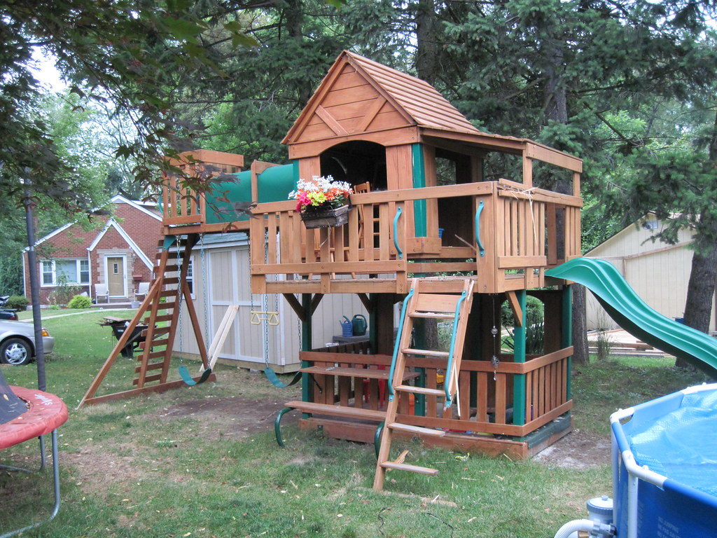 our kids jungle gym just after the lightning strike a. Black Bedroom Furniture Sets. Home Design Ideas