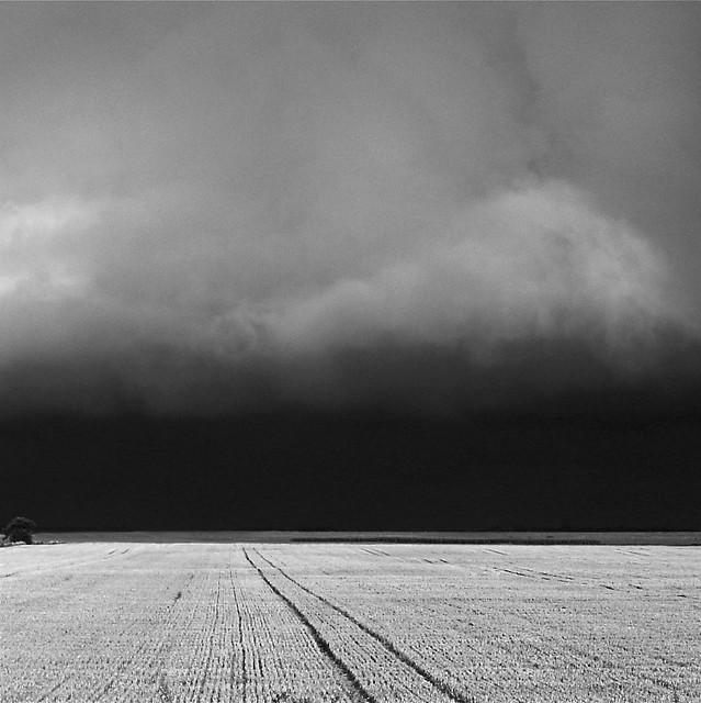 summer storm over stubble
