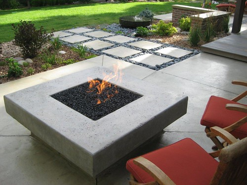 Modern South Denver landscape with  fire pit