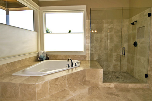 Travertine Bath and Glass Shower