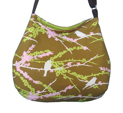 Curvy slouch fabric bag Joel Dewberry Aviary Sparrows