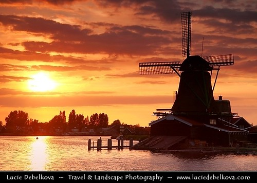 Netherlands - Deep Orange Sunset over Zaandam Windmill