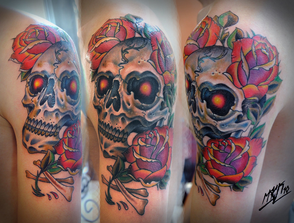 American Traditional Skull and Rose Tattoo