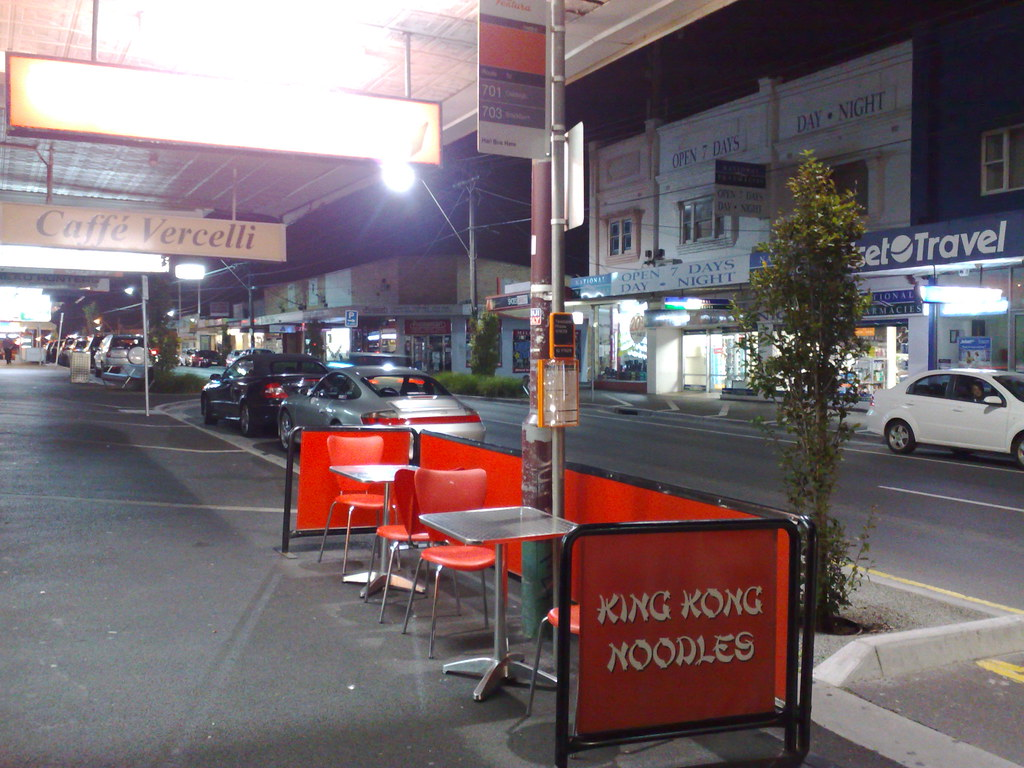Combined bus stop and noodle shop