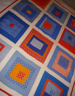 Blue & Orange Squares Finished.