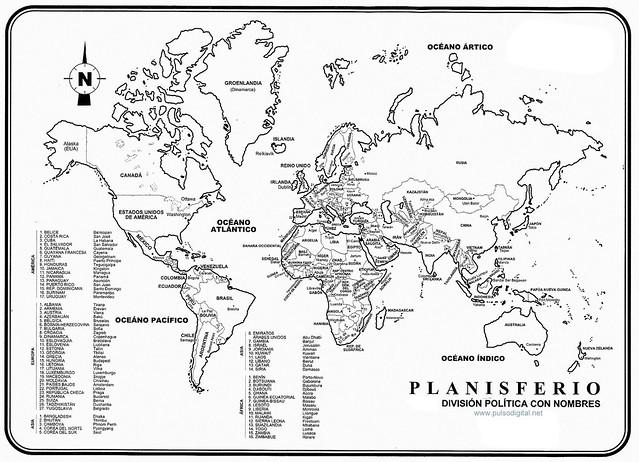 Planisferio - Division politica con nombres | Flickr - Photo Sharing!
