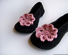 Black Pink Crochet Slippers