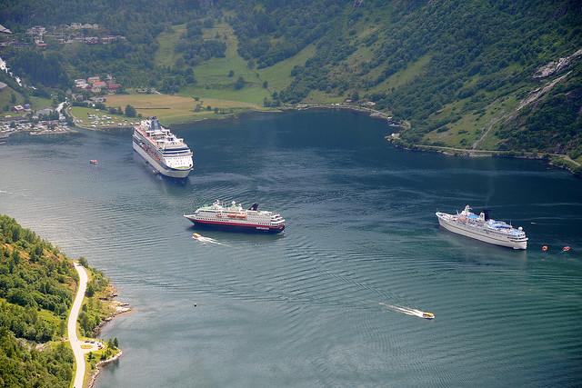 Cruise ships on the Geiranger Fjord
