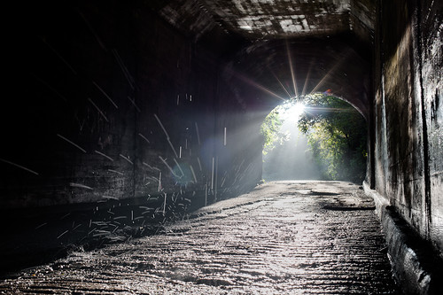 road sunset sun mist water fog tunnel drip rays rough beams hdr