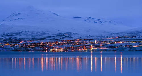 blue sunset mountain snow reflection water iceland dusk akureyri ringroad