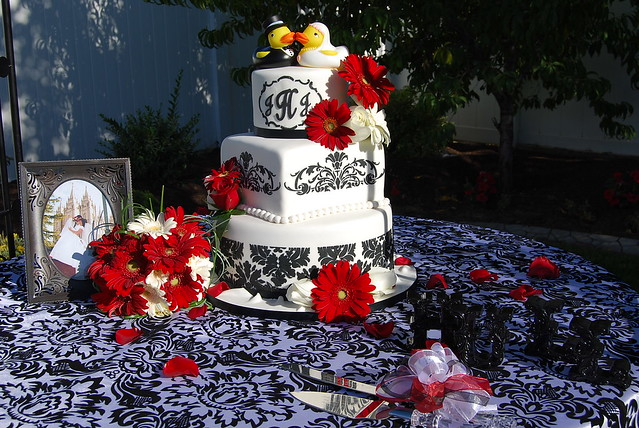 red white and black damask wedding cake in black damask with bright red