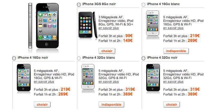 augmentation du prix de l 39 iphone 4 chez orange. Black Bedroom Furniture Sets. Home Design Ideas