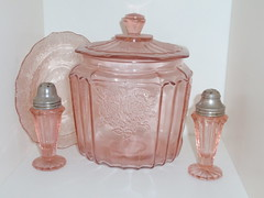 Vintage pink depression glass...Mayfair cookie jar and unknown saucer and salt & pepper