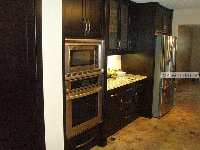 sleek chocolate kitchen cabinets with stainless steel appliances