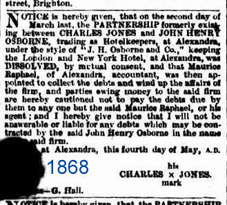 Charles Jones article 1868 from Alexandra Times