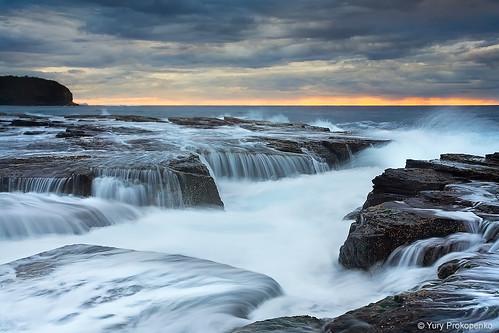 ocean sea seascape water sunrise landscape waterfall rocks north sydney wave australia nsw narrabeen supershot abigfave