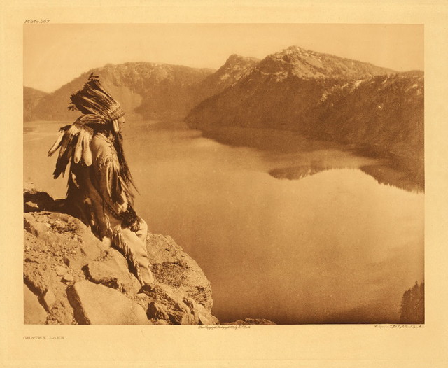 Klamath Indian at Crater Lake, by Edward S. Curtis 1924