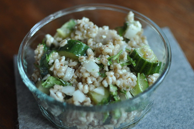 barley, cucumber and feta salad