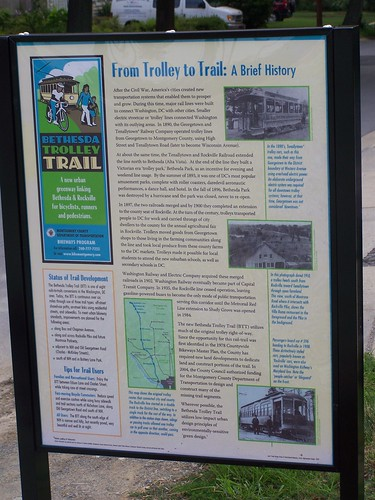 Bethesda Trolley Trail wayfinding sign, interpretation side