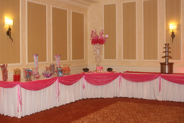 Candy Table fabric draping for a quinceanera at Devens Common Center