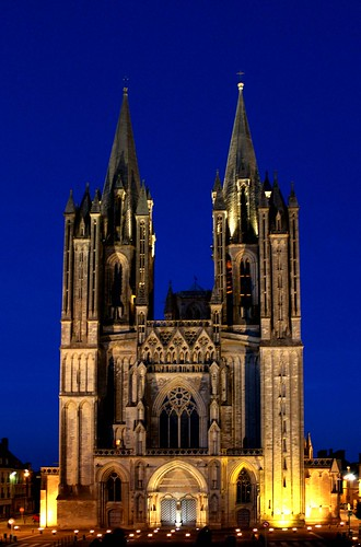 light france church night bells evening europe view cathedral religion christian normandy coutances