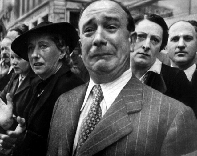 Still from video, A Frenchman weeps as German soldiers march into the French capital, Paris, on June 14, 1940, after the Allied armies have been driven back across France
