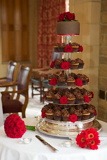 Chocolate & Red Rose Wedding Cupcakes