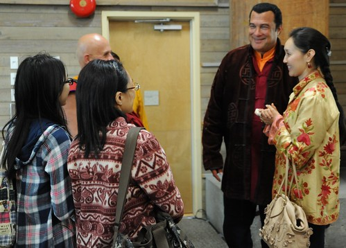Chungdrag Dorje (Steven Seagal), chats with Buddhist monk Matthieu Ricard, Mr. Seagal's wife, Elle, with friends, In Celebration of the Centennial of Dilgo Khyentse Rinpoche, Lotus Speech Canada, First Nations Longhouse, University of British Columbia by Wonderlane