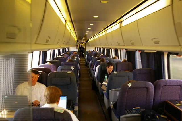 On board Amtrak's Acela train