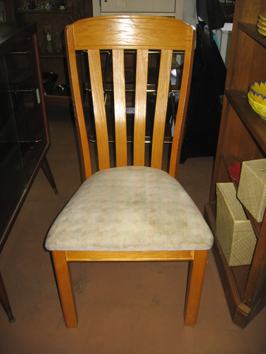 An oak dining room chair