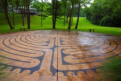 stamped concrete labyrinth