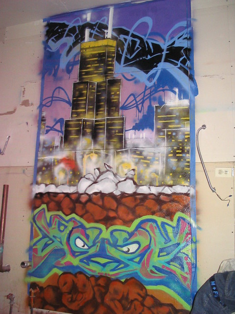 Chicago Skyline with graffiti style pieces | Flickr ...