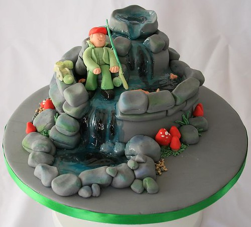 Fishing in a Waterfall Cake