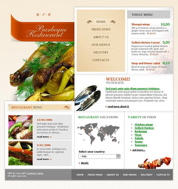 web templates 786 free flash website template bar b q restaurant. Black Bedroom Furniture Sets. Home Design Ideas