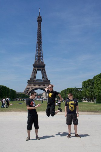 The boys in front of the tower