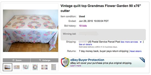 I read over this listing and thought ... this seller has no idea what she has. The pattern is mis-identified, and if this is a 'cutter' I'll eat my shorts...  Full entry: domesticat.net/quilts/primrose